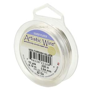 24 gauge non tarnish silver artistic wire.