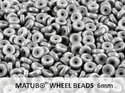 Wheel Bead, Chalk Grey Luster, 6 mm. 10 gram.