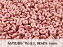 Wheel Bead, Chalk Red Luster, 6 mm. 10 gram.