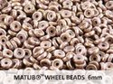 Wheel Bead, Chalk Brown Senegal Violet, 6 mm. 10 gram.