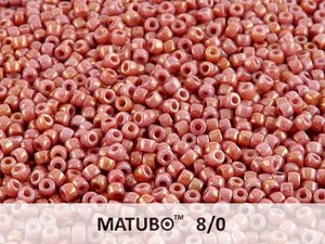 Matubo 8/0, Chalk White Red Luster. 10 gram.